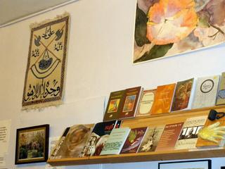 Inside of Sufi Coffee Shop, book shelf